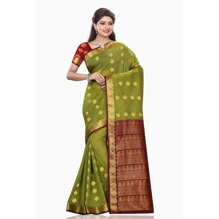 Indian Selections Mona Green with Maroon Art Silk Sari Saree Bellydance Wrap