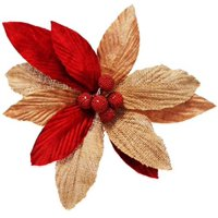 Darice Christmas or Fall Poinsettia Floral Pick RedTaupe 75in