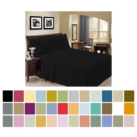 LuxClub Bamboo Sheet Set - Viscose from Bamboo - Eco Friendly, Wrinkle Free, Hypoallergentic, Antibacterial, Moisture Wicking, Fade Resistant & Softer than Cotton - Blacker Black - California