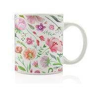 Pretty Floral Coffee Mug Beautiful Flower Pattern Gift Idea Artist Writer Woman Housewarming Hostess Present from Friend Colorful English Garden Shabby Chic 11oz Ceramic Tea Cup by Digibuddha DM0185