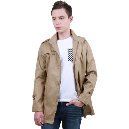 1715-F03 Mens Long Sleeve Button Closure Autumn New Fashion Trench Coat ()