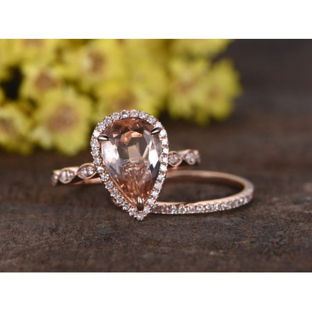 2.25 Carat Pear Cut Morganite and Diamond Halo Art Deco Wedding Ring Set in Rose Gold Art Deco Wedding Sets