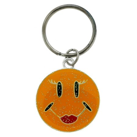 Glittery Enameled Smiley Face Key Chain KEKC4911