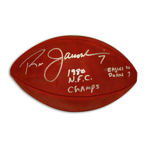 """NFL - Ron Jaworski Autographed NFL Football Inscribed """"1980 NFC Champs"""" & """"Eagles 20 Dallas 7"""""""