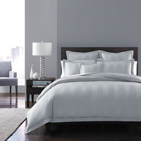 Hudson Park Collection King Size 100% Cotton 600 TC Stripe Duvet Cover - White