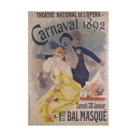 Theatre National de l'Opera, Carnaval 1892, Samedi 30 Janvier, 1er Bal Masque Print Wall Art By Jules Chéret - Musique De Halloween Film