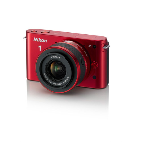 "Nikon 1 J1 Red 10.1MP Digital Camera w/ 3x Optical Zoom, 10-30mm VR Lens, 3"" LCD, HD Movie Recording"