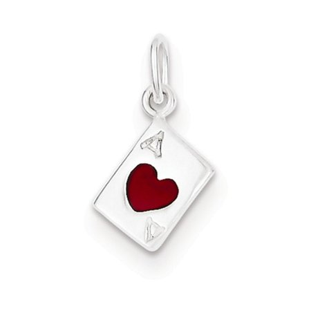Sterling Silver Enameled Ace Of Hearts Card Charm (Heart Flag Enamel Charm)