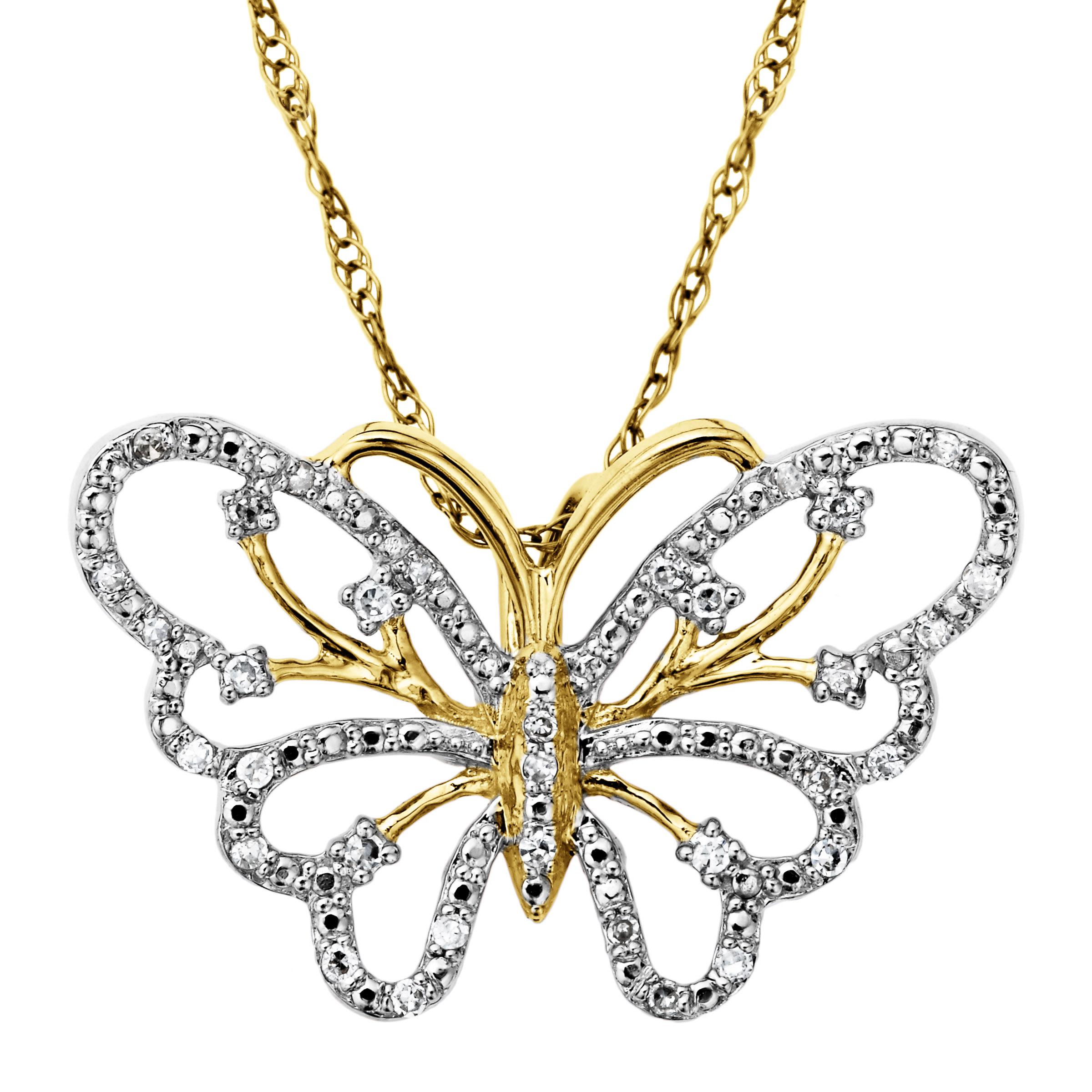 Richline 1/10 ct Diamond Butterfly Pendant Necklace in 14...