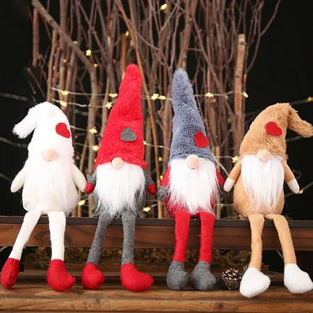 Long Hat Plush Doll Toy Xmas Decor Merry Christmas Santa Claus Home Ornaments Christmas Tree Decor Kids Christmas Gifts ()