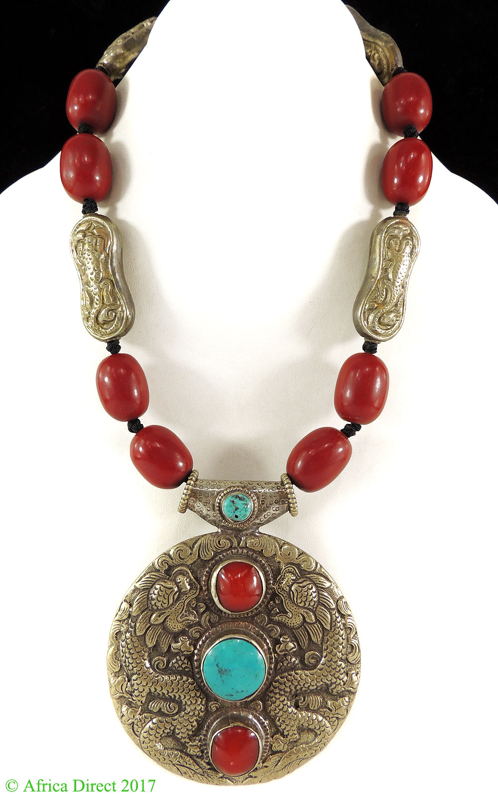 Tibetan Necklace Silver Repoussee Pendant Turquoise Red Beads by