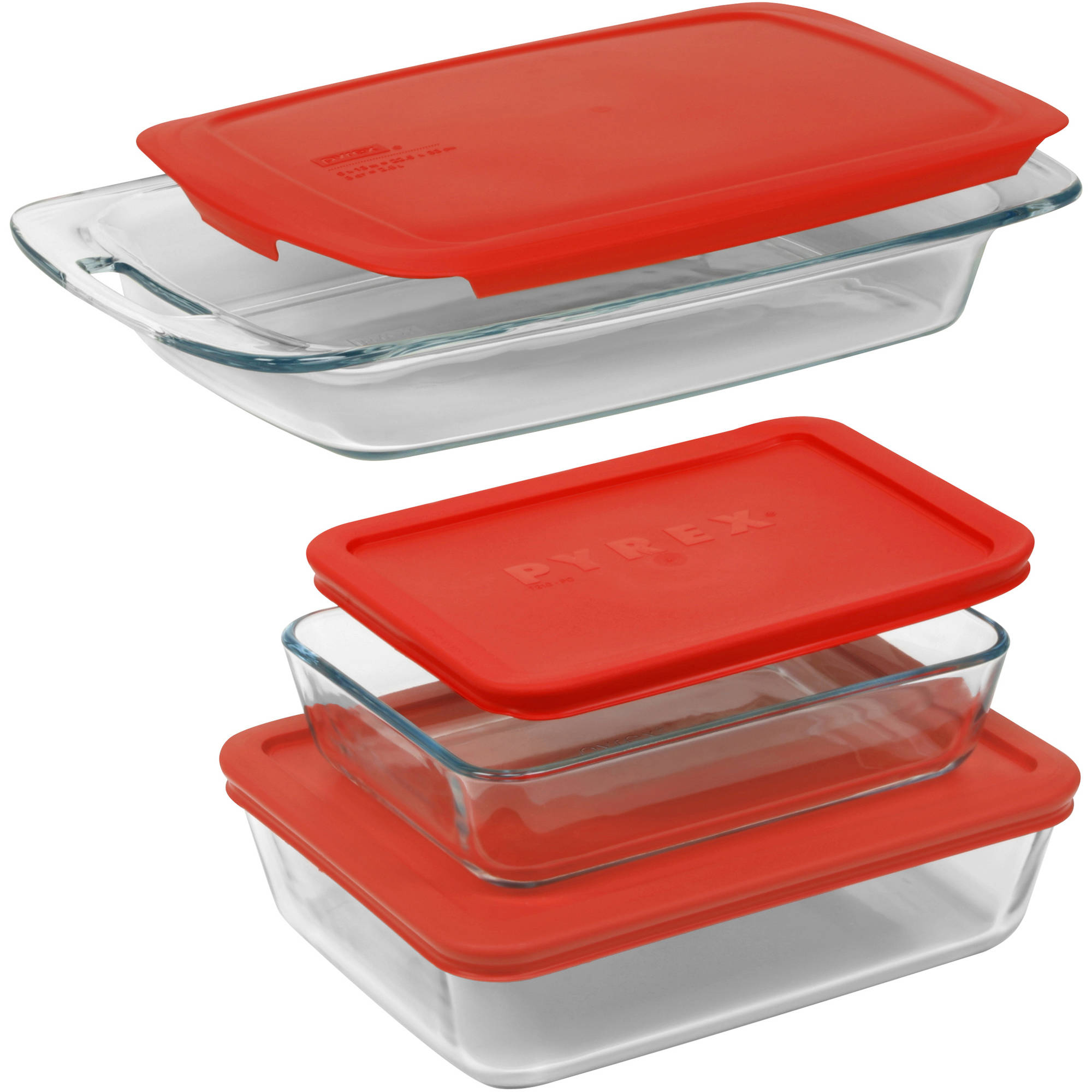 Pyrex 6-Piece Easy Grab Value Pack with Plastic Covers, Glass, Red