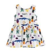 VICOODA Baby Girls Cute Sleeveless Dress Round Neck Print Casual Party Sundress Summer Vestidos Dress with Tie