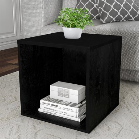 Lavish Home End Table – Stackable Contemporary Minimalist Modular Cube Accent Table or Shadowbox (Black)