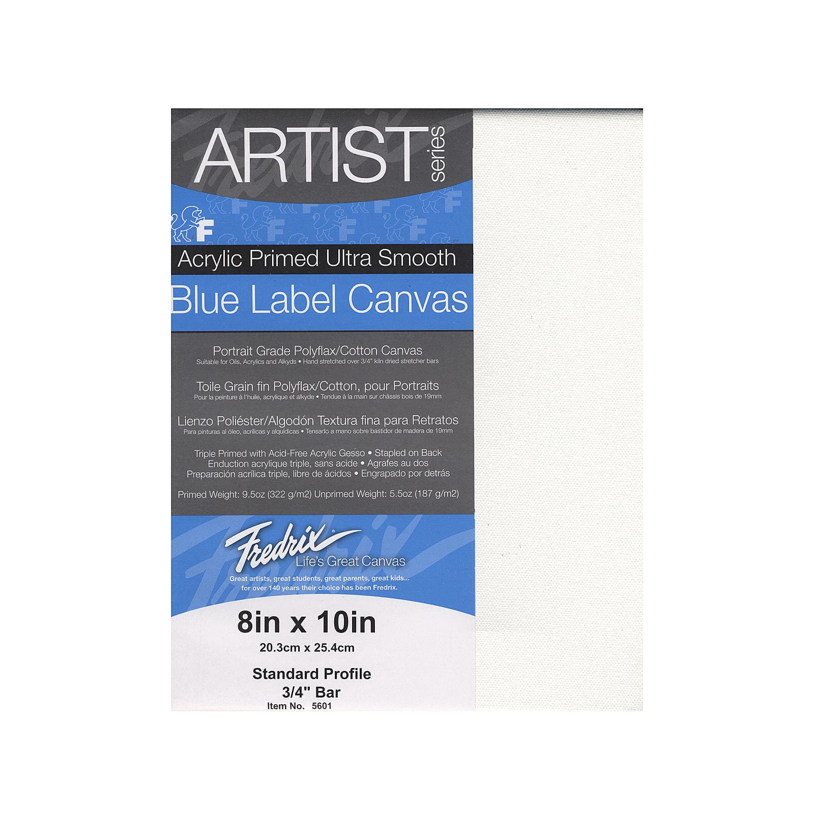 8 by 10-Inch Fredrix 5601 Ultra Smooth Stretched Canvas
