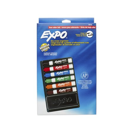 EXPO Dry Erase Marker & Organizer Kit, Chisel Tip, Assorted, 6/Set