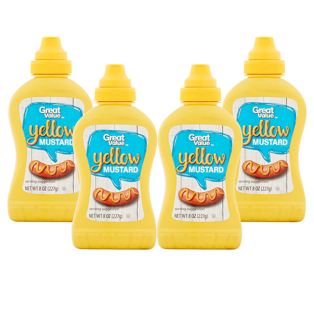 (4 Pack) Great Value Yellow Mustard, 8 oz