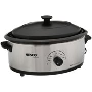 Nesco 4816-25PR 6-Qt. Stainless Steel Roaster with Porcelain Cookwell
