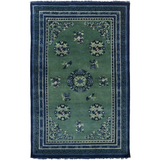 2' x 3' Scattered VInes Navy Blue and Olive Green Wool Area Throw Rug