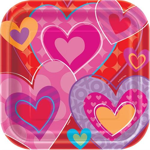 "9"" I Heart Valentine Square Paper Dinner Plates, 8ct"