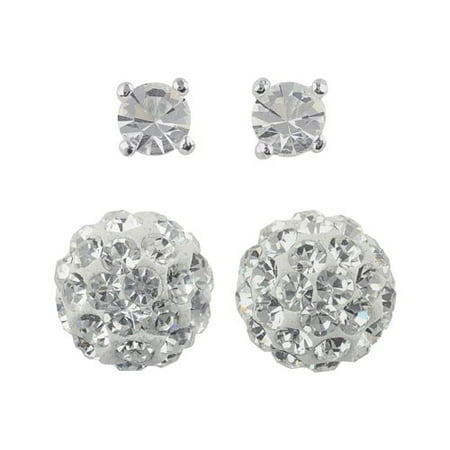 Crystal Pave Fireball Sterling Silver 2-Pair Duo Earrings Set