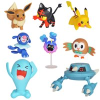 "Pokmon Action Figure Mega Battle Pack - Comes with 2"" Rowlet, 2"" Popplio, 2"" Litten, 2"" Eevee, 2"" Pikachu, 2"" Cosmog, 3"" Metang, and 3"" Wobbuffet"