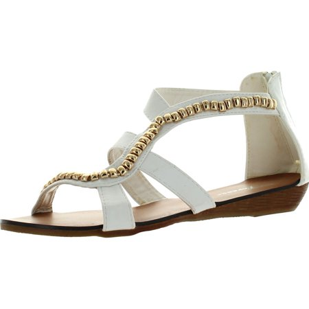 Forever Womens Fashion Rebel-13 Leather PU Strappy Gladiator Upper Ankle High Wedge Sandals (Leather Gladiator High Wedge)