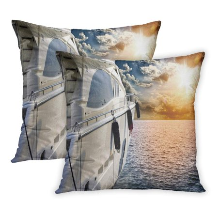 ECCOT Blue Luxury Private Motor Yacht to Incredible Sunset Sailboat Boat Colorful Lifestyle Sail Horizon Ocean PillowCase Pillow Cover 20x20 inch Set of (Best Motor Yacht For Ocean Crossing)