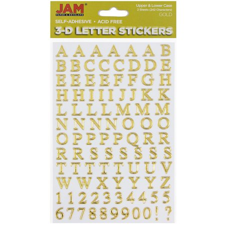 JAM Paper Self Adhesive Alphabet Letters Stickers, Gold, 2/pack