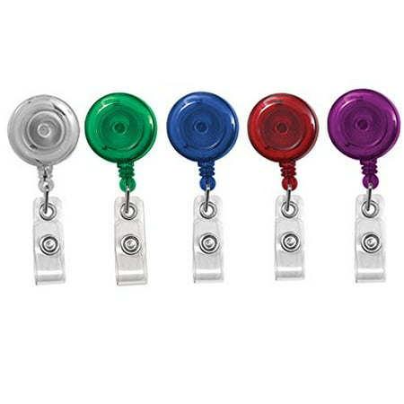 5 Pack - Translucent Assortment Retractable ID Badge Reels with Alligator Swivel Clip by Specialist ID Badge Reel No Sticker