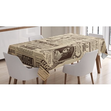 Paris Tablecloth, Vintage Old Historic Newspaper Journal French Paper Lettering Art, Rectangular Table Cover for Dining Room Kitchen, 52 X 70 Inches, Light Brown Caramel and White, by Ambesonne