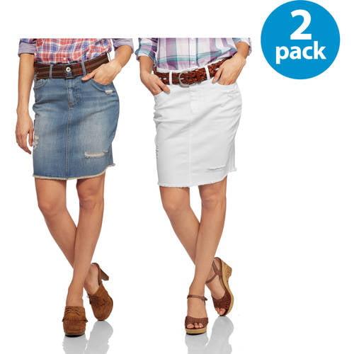 Kate & Charlie Women's Destructed Pencil Denim Skirt 2pk Bundle