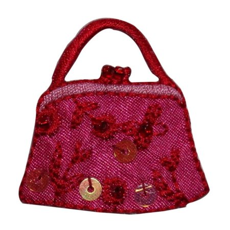 ID 8390 Sequin Rose Flower Purse Patch Hand Bag Embroidered Iron On Applique