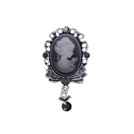 - Crystal Cameo Brooch Dangle Pendant Antique Silver Tone Woman Classic Jewelry BROOCH-16-S