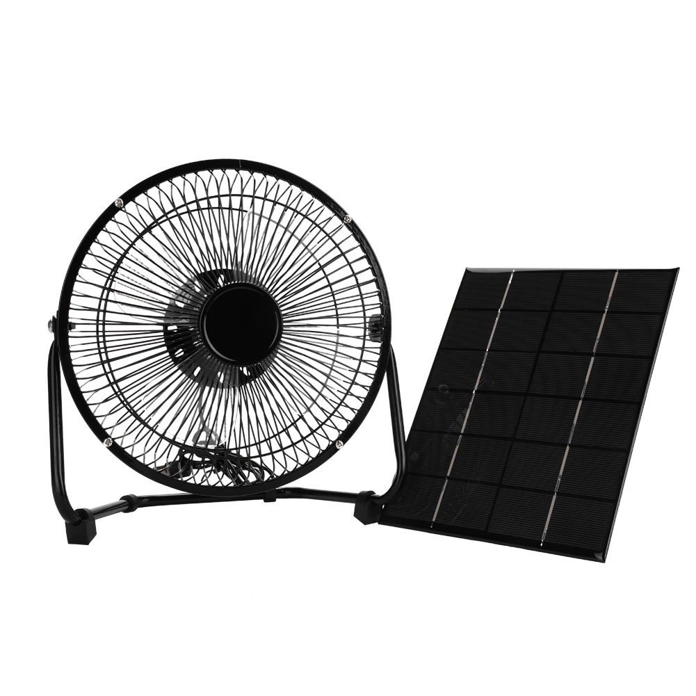 Keenso USB 8inch 5.2W 6V Iron Cooling Fan + Solar Panel for Outdoor Traveling, Outdoor Solar Accessories, Solar Panel Kit