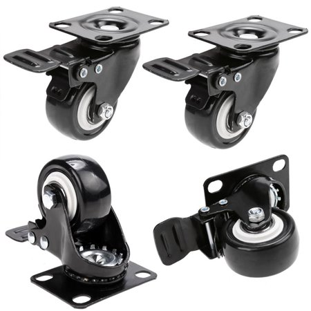 - 5 PVC Heavy Duty Swivel Caster Wheels Lockable Ball Bearing  360 De.gree Top Plate with Brake 300lbs each ECBY