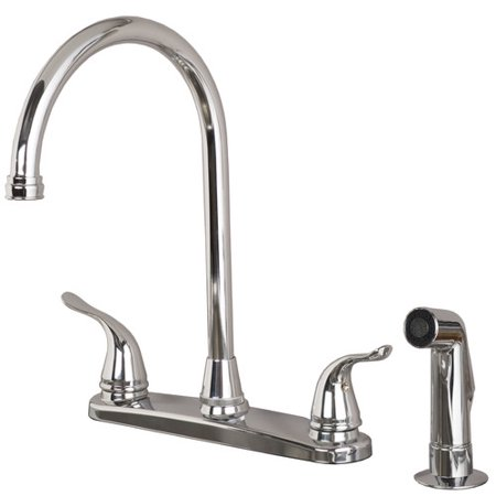 Laguna Brass Double Handle Kitchen Faucet with Side Spray (One Handle Spray Faucet)