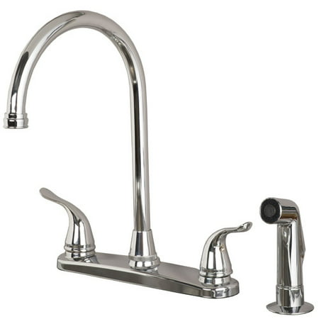 Laguna Brass Double Handle Kitchen Faucet with Side Spray Brass Revival Kitchen Faucet