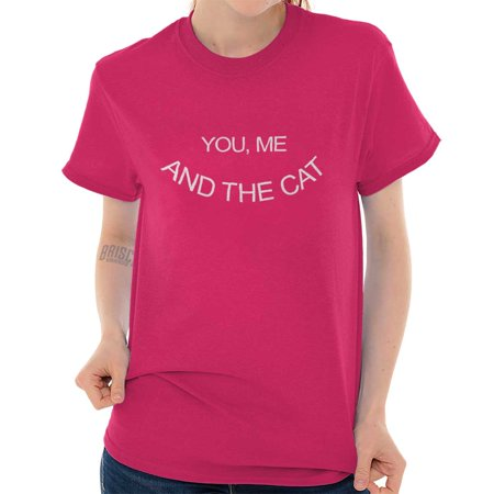 Brisco Brands You Me And The Cat Couples Pet Short Sleeve Adult T-Shirt