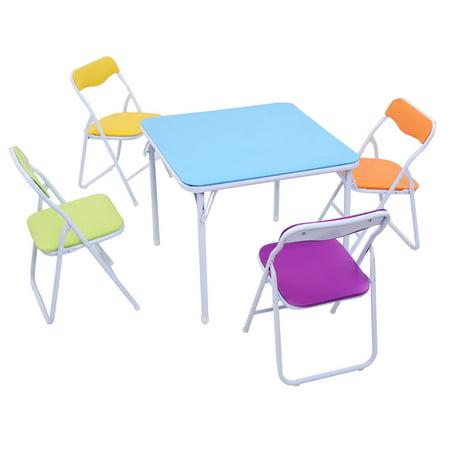 Costway Kids 5 Piece Folding Table Chair Set Children Multicolor