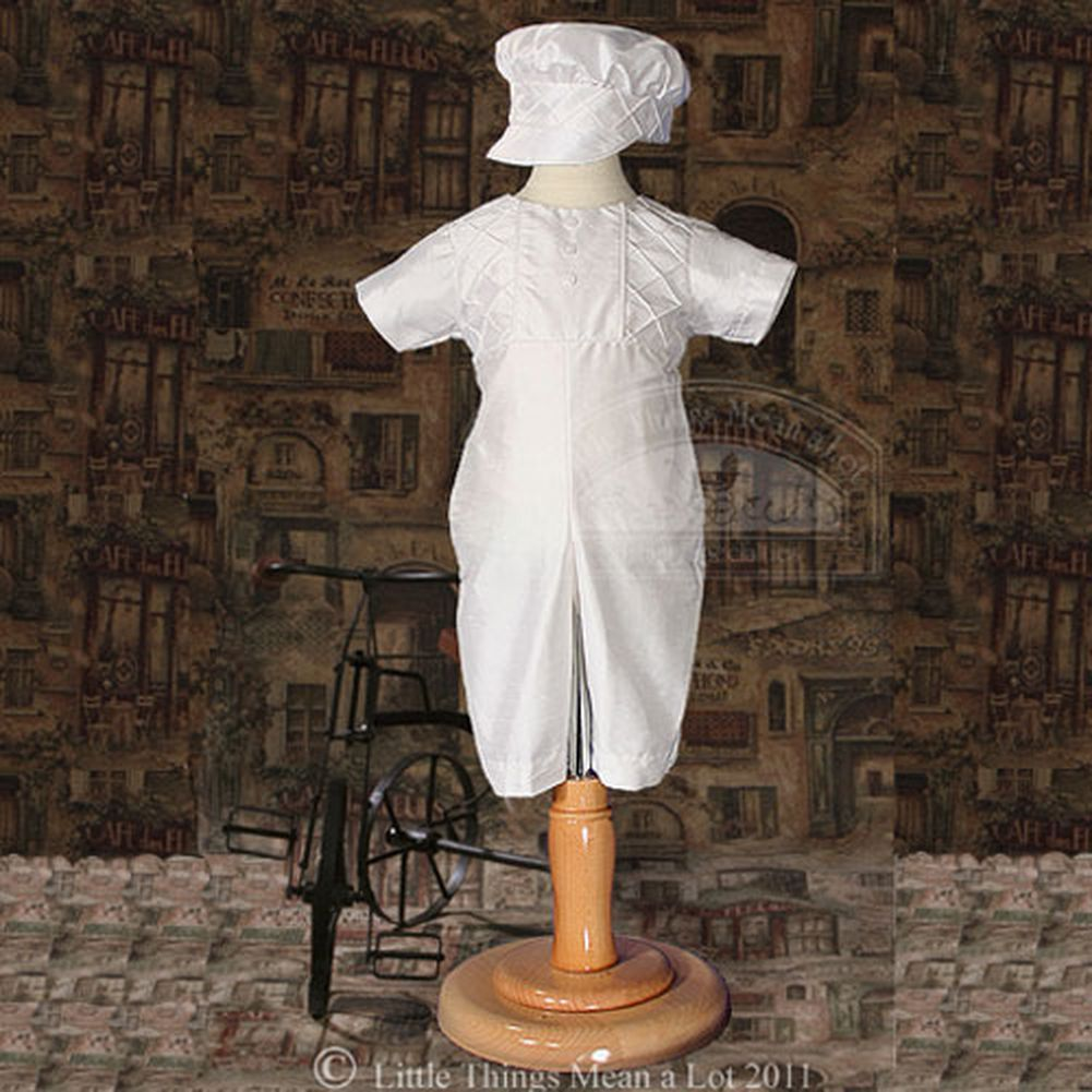 Baby Boy Size 0-12M White Silk Christening Baptism Outfit Set With Hat