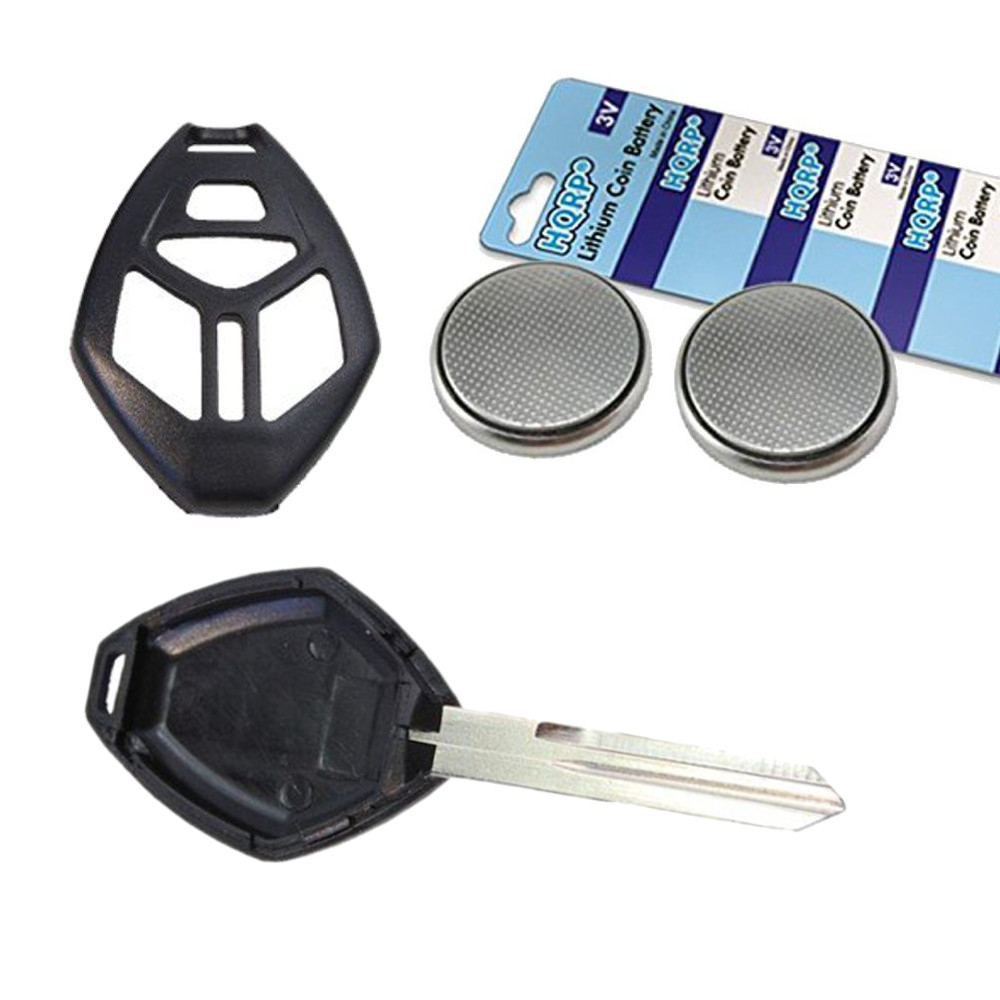 HQRP Transmitter and Two Batteries for Mitsubishi Endeavor 2006 2007 2008 06 07 08 Key-Fob Remote Shell Case Cover Smart Key FOB + Coaster