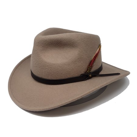 Men's Outback Wool Cowboy Hat |Montana Putty Crushable Western Felt By  Silver Canyon
