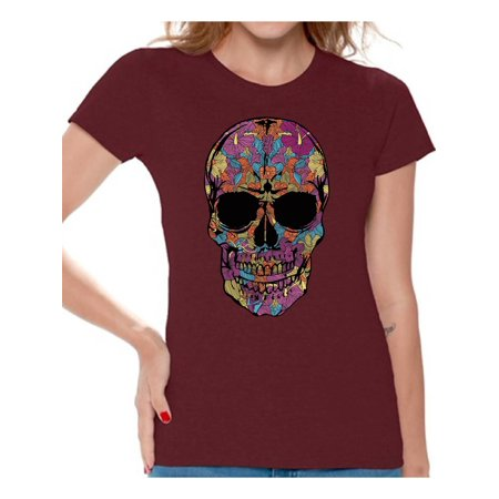 011804b56 Awkward Styles Black Flowered Skull Tshirt Top skull shirts womens mens day  of the dead costume t shirt dia de Los Muertos costume t shirt candy skull  sugar ...