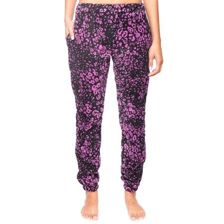 Leopard Heart Pants - Women's Microfleece Jogger Lounge Pant - Leopard Black/Purple - Large