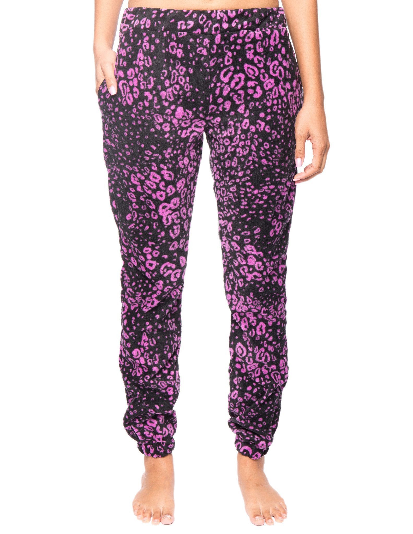 Women's Microfleece Jogger Lounge Pant - Leopard Black/Purple - Large