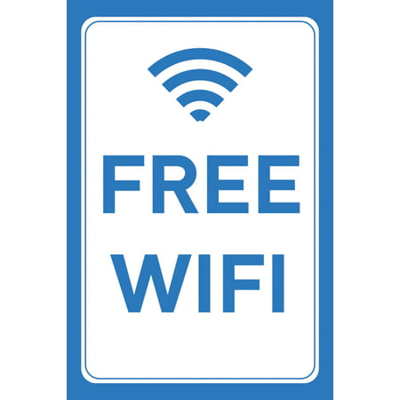Free WiFi Picture Blue White Print Symbol Wall Window Business Store Front Sign Large - Aluminum Metal, 12x18](Wifi Sign In)