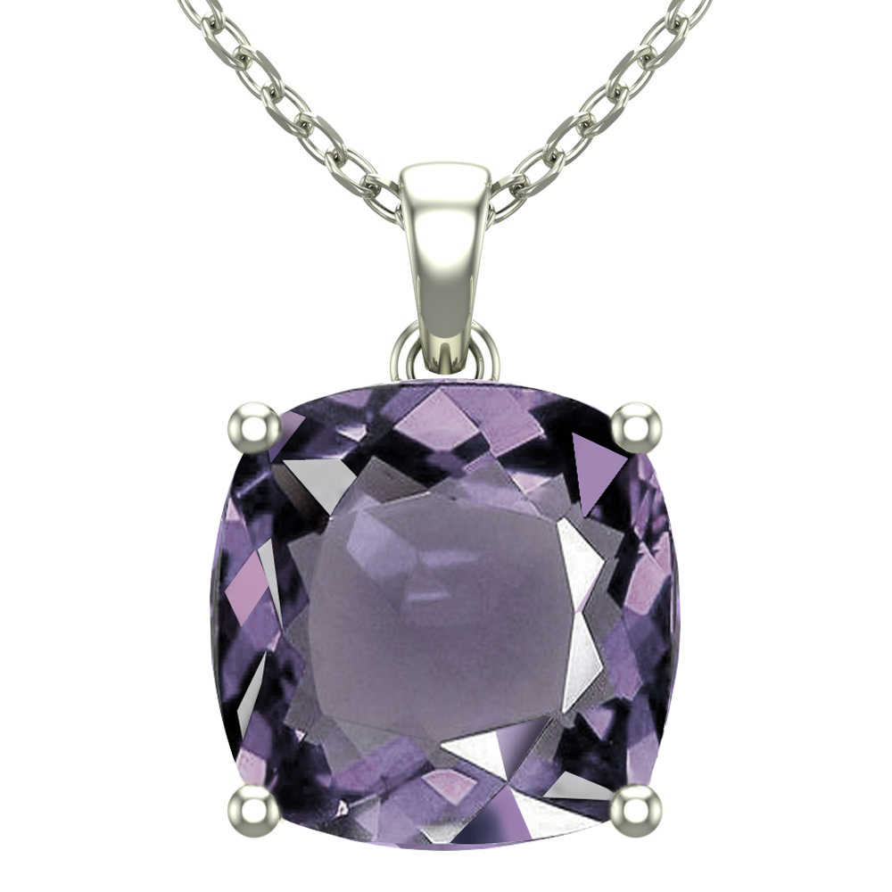 """Belinda Jewelz 14K White Gold 18"""" Singapore Necklace with 10mm Cushion Cut Amethyst Gemstone by Sterlyn Silver"""