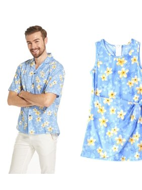 b584697e9 Product Image Made in Hawaii Matching Father Daughter outfit Luau Aloha  Shirt Girl Dress in Pretty Plumeria Blue