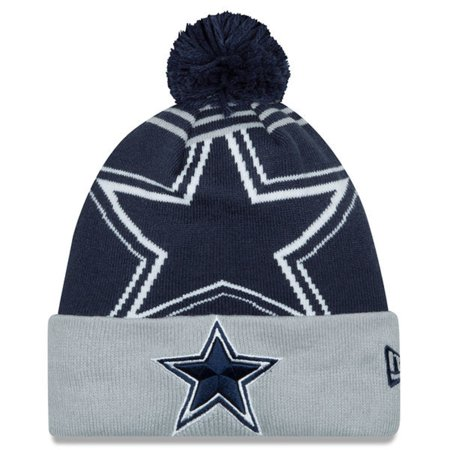 Dallas Cowboys Navy Blue Logo Wiz Knit Winter Hat Cap with Pom - Walmart.com 416e40c35